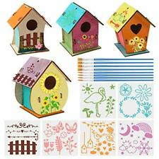 4 Pack Diy Bird House Kit Build And Paint Birdhouse Wooden Unfinished Birdhouse