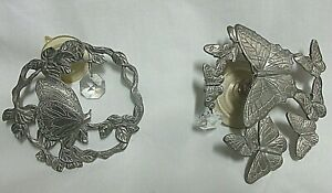 Lot of 2 Etched Pewter Multiple Butterflies With Crystal Suncatcher
