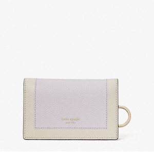 Kate Spade Margaux Small Leather Bifold Key Ring Wallet Lilac Moonlight New $98
