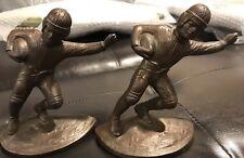 ANTIQUE HUBLEY NFL FOOTBALL PLAYER  ART STATUE HELMET BALL SPORT BOOKENDS 1905