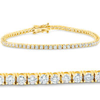 4 Ct Diamond 18K Yellow Gold Round Cut Tennis Bracelet 7""