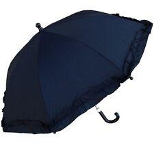 "RainStopper 34"" Children's Girls Ruffle Parasol Frilly Umbrella Sunshade Black"
