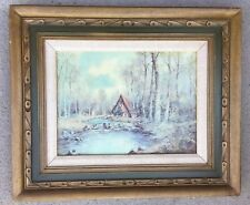 "Winter Scene Landscape Cottage Painting Framed 20X24"" Art Signed Lorenz"