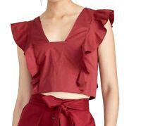 Rachel Rachel Roy Womens Tops Red Size XL Cropped Ruffled Tie-Back $79 272