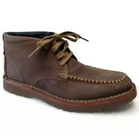 Clarks Mens Boots Size 7.5 M Brown Vargo Apron Toe Chukka Leather Lace Up
