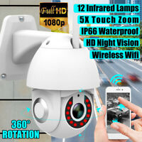 5X Zoom Waterproof WiFi PTZ Pan Tilt 1080P HD Security IP IR Camera Night Vision
