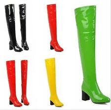 Womens Over The Knee Stretch Patent Leather Candy Block Heel Thigh High Boots
