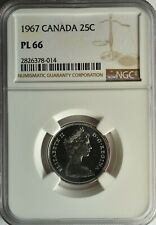 CANADA SILVER 25 CENTS 1967 NGC PL 66 UNC