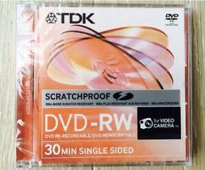 10 Discs TDK ScratchProof 8cm Mini 2x 1.4GB DVD-RW 30Min SingledSided Camcorders