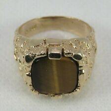 Nugget-Style Ring Men Size 9 Estate 10k Yellow Gold Tiger's Eye