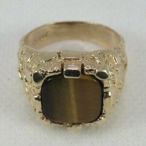 ESTATE 10k Yellow Gold Tiger's Eye Nugget-Style Ring Men Size 9