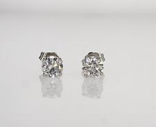 E VVS2 Round Cut Real Natural Diamond Stud Earrings 14k White Gold 3/4 ctw
