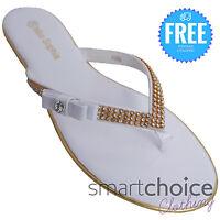 Ladies Girls Flip Flops Diamante Sequin Pattern White Colour Beach Summer