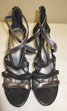 Women's Studio Paolo Strappy Sandals Gray Zip Back Cone Shaped Heels Sz 10M