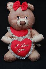 "Potpourri Press Blankies Valentine Nylon Puffalump Brown Bear 1987 Plush 12"" Toy"