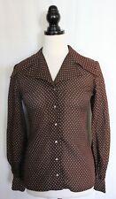 VINTAGE 1970s ~ Susy Ware Brown & White Polkadot Tricel Sharp Collar Shirt 34 10