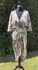 BN H & M Kimono Scarf Print Satin Dress UK 12-14 US 8-10