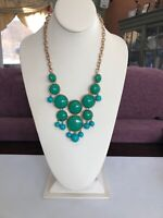 Turquoise Blue And Pea Green Gold Bohemian Bib Statement Necklace
