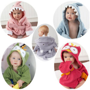 Quality !! Kid Baby Boy Girl Animal Bathrobe Hooded Bath Towel Wrap Bathing Robe