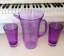 POTTERY BARN PURPLE ACRYLIC PITCHER WITH BUBBLES DESIGN AND 2 MATCHING TUMBLERS