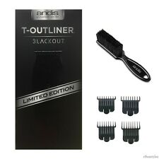 Andis T-Outliner Blackout Trimmer #05110 w/ 4 attachment Combs & Brush