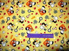 KYLA MAY Husband And Wife Love Heart Kiss Yellow Cotton Fabric BY THE HALF YARD