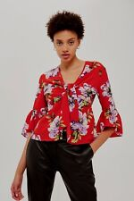 BNWT Topshop Red Floral Tie Front Blouse Fluted Frill Sleeves - Size 10