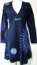New Desigual Ladies Dress, V Neck, Size XXL, Full Sleeve, Navy-Blue&Multi,Cotton
