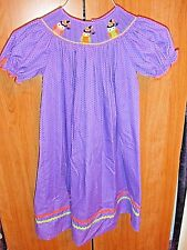 CANDYOLAND  SIZE 6 GIRL PULLOVER  DRESS PURPLE  WITH OWLS SPIDERS AT COLLAR