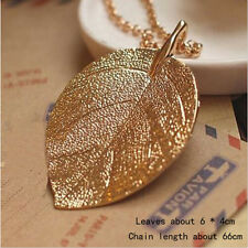 Women Golden Leaf Pendant Necklace Long Chain beaded Sweater Jewelry Gift ONE