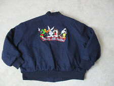 VINTAGE Looney Tunes Varsity Jacket Adult Extra Large Blue Bugs Bunny Taz Mens