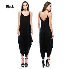Women's Solid Loose Fit Harem Spagetti Strap Jumpsuit Dress(Size:S-3X PLUS) USA