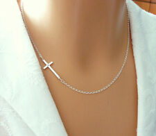 925 Sterling Silver Sideways Cross Necklace with One Tiny CZ