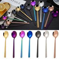 1PC Colorful Tea Spoon Stainless Steel Dining Coffee Ice Cream Dessert Tableware