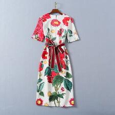 Christmas wholesale runway Crew neck Short sleeves Zipper Sashes Print Dresses