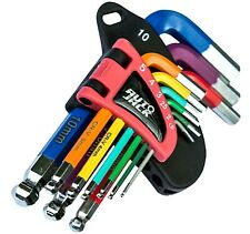 Metric 9 Piece Allen Hex Key Set Ball End Magnetic Bits Colour Coded with Holder
