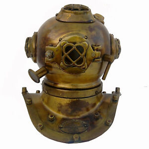 Antique Deep Sea Desk Decor U.S Navy Solid Brass Mini Diving Divers Helmet 6''