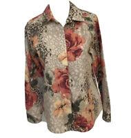 Chico's No Iron Women's Top Size 0 Button Down Floral Shirt Long Sleeve EUC