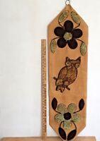 Vintage 70's Macrame Owl Carpet Burlap Wall Hanging Mod MCM Retro Boho