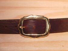 Laiton rectangle arrondi côtés 1 1/4 pouces ceinture en cuir à la taille taille bande jeans large