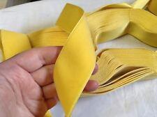 "1 1/2"" Yellow HANK FRENCH Antique Vintage Silk Rayon Satin Back Velvet Ribbon"