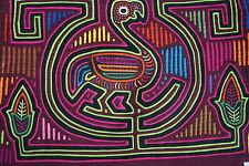 Kuna Abstract Traditional Mola Hand stitched  Applique Flamingo Bird on Vase 32B