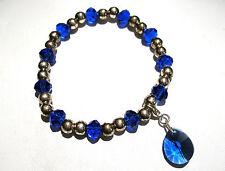'AAA' GRADE BLUE CRYSTAL GLASS BEADED STRETCH TEARDROP CLIP CHARM BRACELET