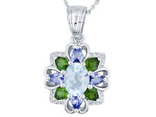 """2.79 ctw Blue Topaz, Chrome Diopside & Tanzanite Necklace Sterling Silver 18"""""""
