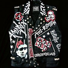 Studded Leather Jacket Waistcoat Punk Painted Men's Custom Biker Battle Vest