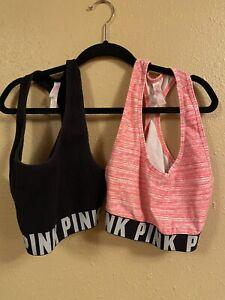 Lot of 2 Medium Victoria's Secret PINK crop sports bras - black and pink -EUC!