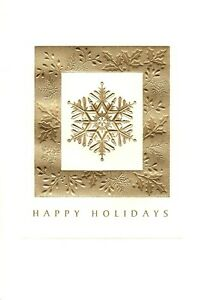 Happy Holidays Gold Foil Snowflake Snowflakes Hallmark Cards - Set of 3