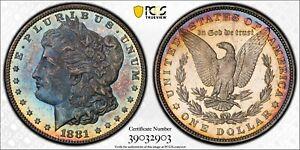 1881-P Morgan Dollar PCGS MS64 CAC Gorgeous Blue Cameo Rainbow Toned
