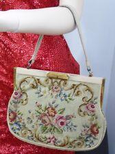 Gobelin Petit Point Handtasche Abendtasche Vintage Tracht Lederriemen