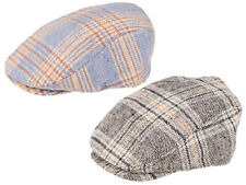 Mens Flat Cap Wool Blend Check Tartan Design Peaked Lined Elasticated Winter Hat